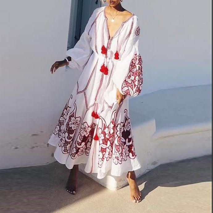 Sexy Floral V Collar Long Sleeve Fringe Vacation Maxi Dress Vintage Dress