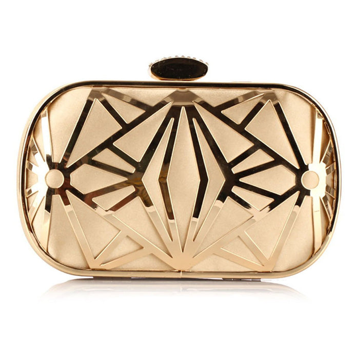 Gold Geometric Chain Evening Clutch Bag
