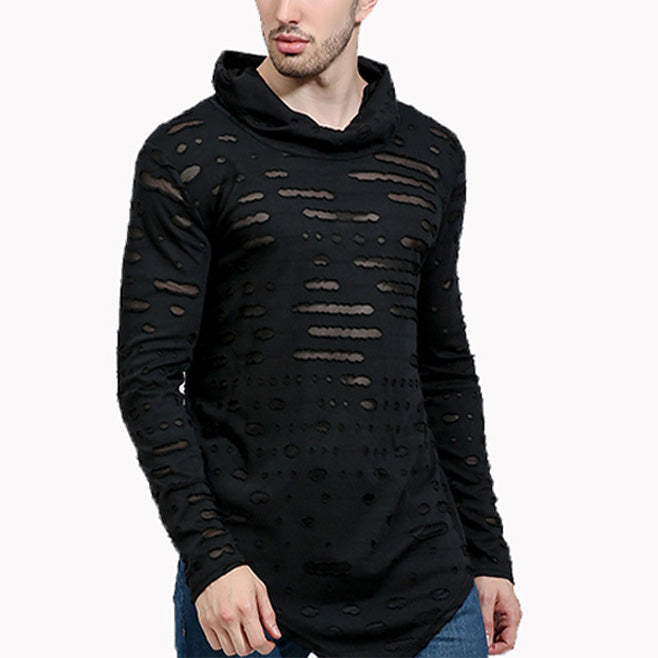 Fashion Mens Pure Color Rag Hoodie