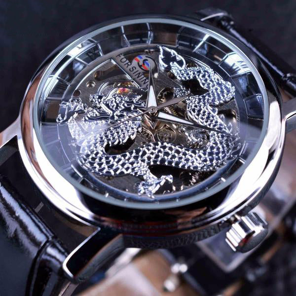 Forsining  Dragon Skeleton Design Luxury Mechanical Mens Wrist Watch