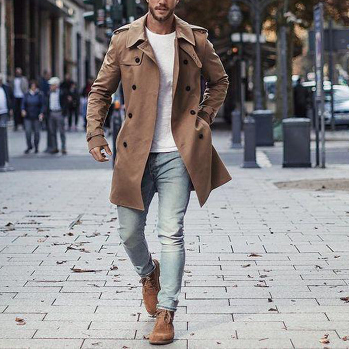 Mens Casual Lapel Plain Loose Button Khaki Long Winfbreaker Coat