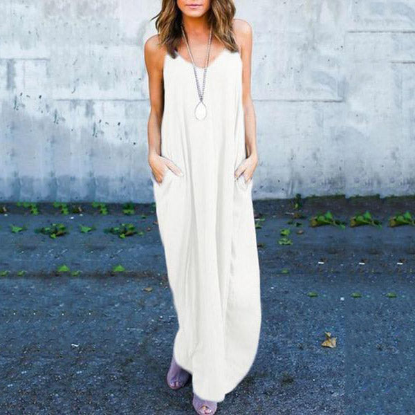 Spaghetti Strap  Loose Fitting Slit Pocket  Plain  Sleeveless Vintage Maxi Dresses