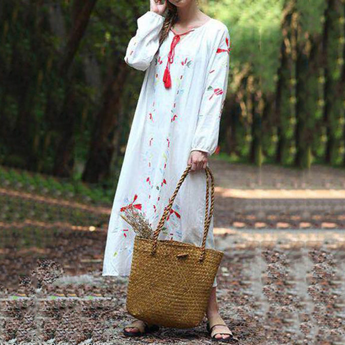 Cotton Linen Long-Sleeved Tie Ethnic Embroidery Casual Maxi Dress Vintage Dress