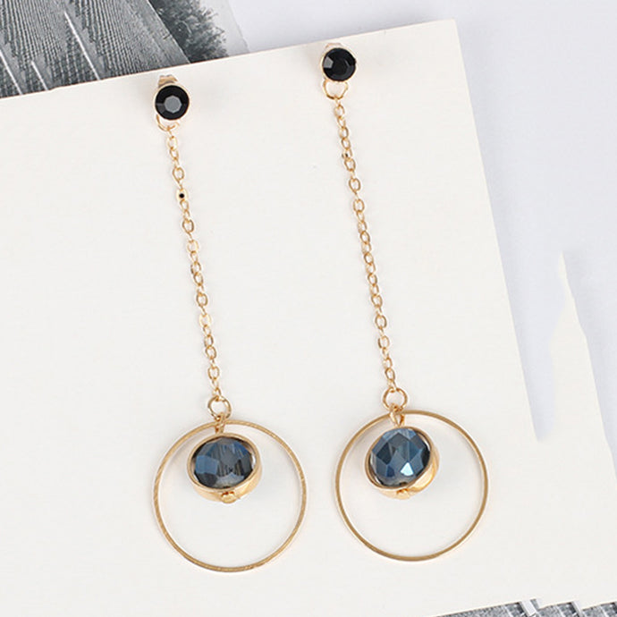 Open Circle Faux Crystal Drop Earrings