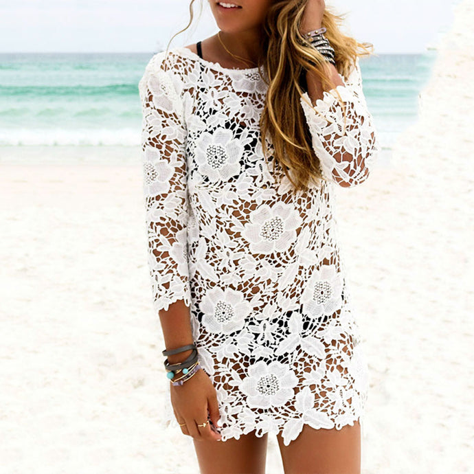 Lace Round Neck Hollow Out Cover Ups