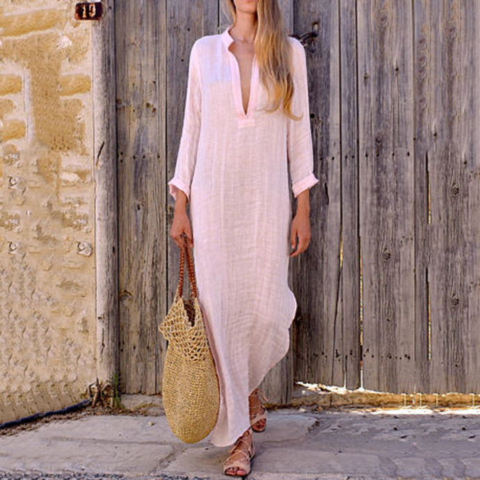 Split Neck Plain Maxi Dress Vintage Dress