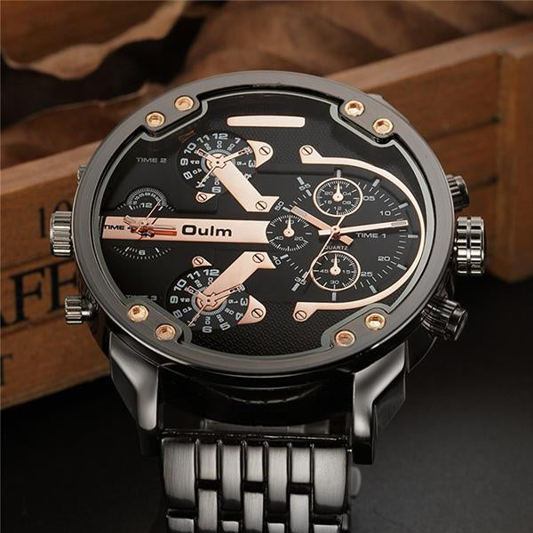 Fashion Mens Multi - Time Zone Steel Waterproof Watch