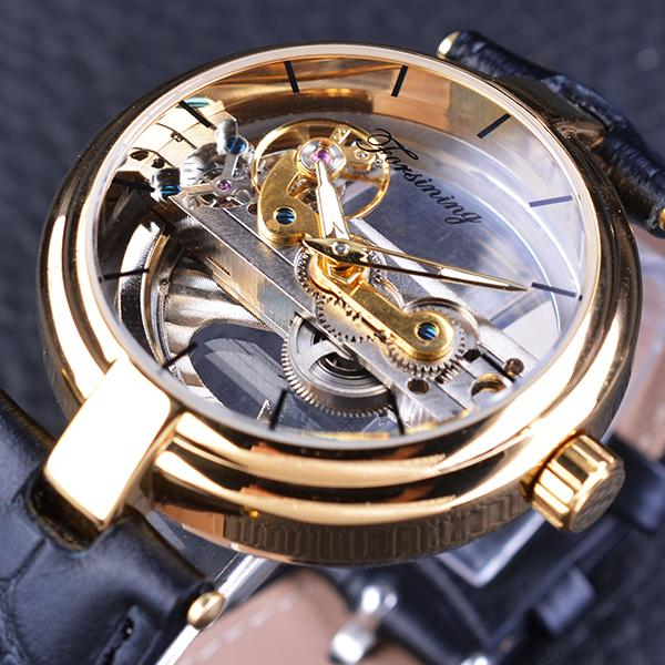 Fashion Mens Double Side Transparent Skeleton Leather Belt Watch