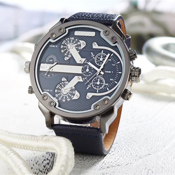 Oulm Top Luxury Brand Multiple Time Zone Mens Watches