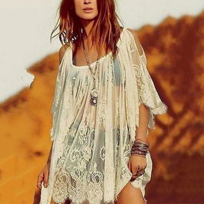 Open Shoulder Round Neck  See Through  Plain Cover Ups