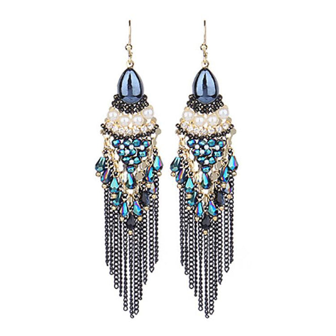 Bohemian Retro Drop Shaped Diamond Tassel Earring
