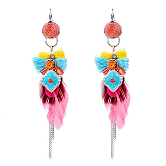 Diamond Tassel Handmade Feather Earrings