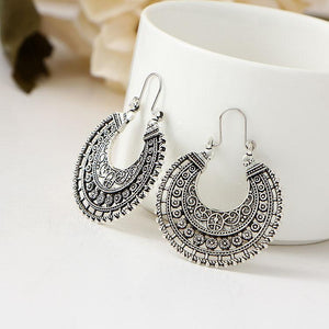 Bohemian Hollow U Shaped Flower Basket Earrings