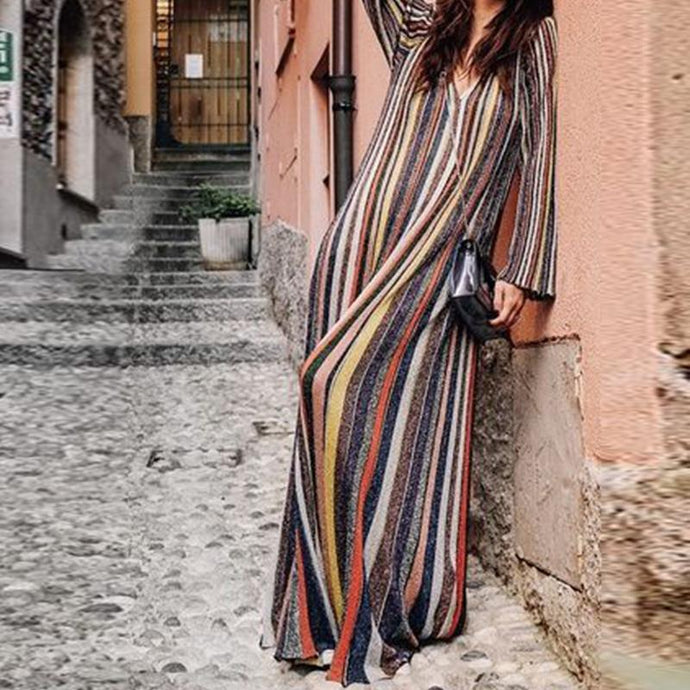 Elegant Stripes Long Sleeve Oversize Maxi Dress Vintage Dresses