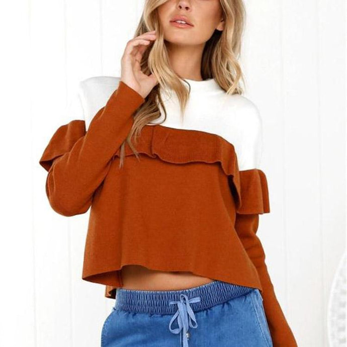 Fashion Round Neck Color Matching Sweatshirts