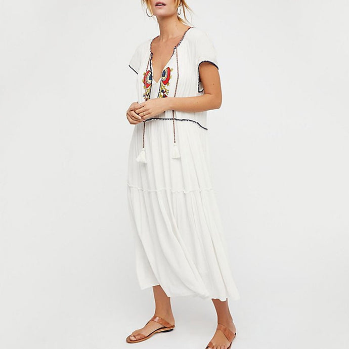 Cotton Short Sleeves Cover Ups Vacation Maxi Dress