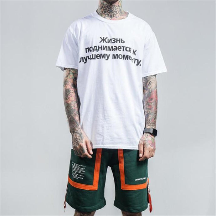 Fashion Men's  Youth Loose Print Letter Round Neck Short Sleeve T-Shirt