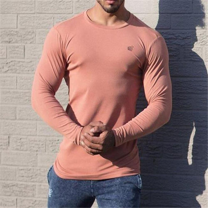 Fashion Men's Plain Round Neck Long Sleeve Sport Top