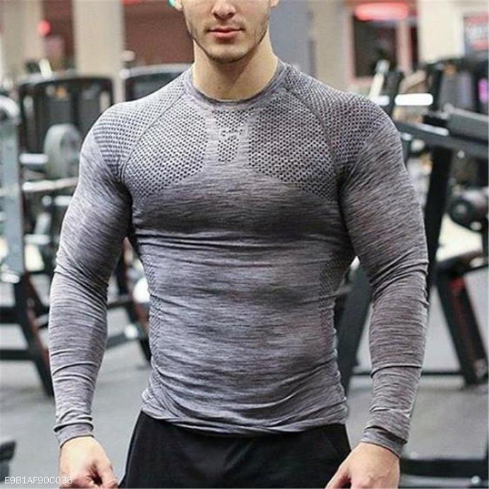 Fashion Mens Sport Casual Slim Plain Long Sleeve Top