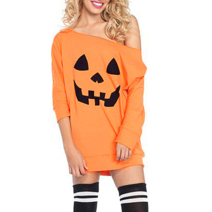 Halloween Slanted Casual Dress