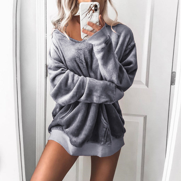 Fashion Autumn Solid Color Velvet Sweatshirts