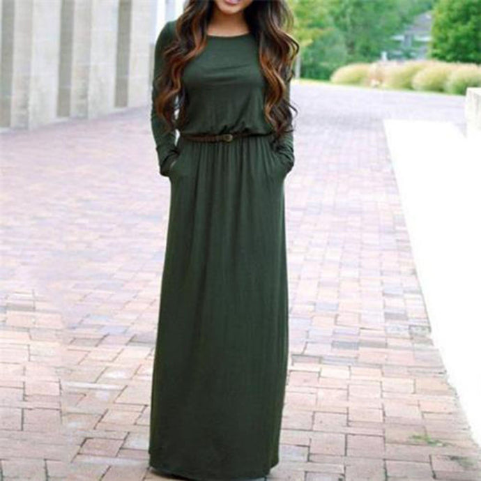 Casual Round Collar Loose Plain Maxi Dress