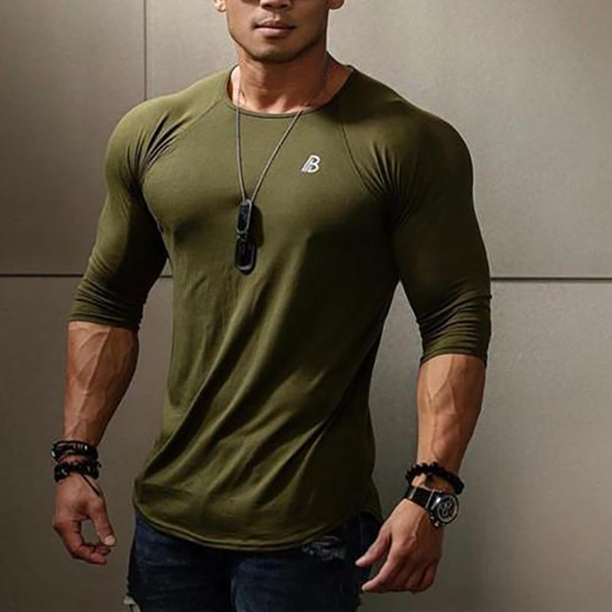 Fashion Mens Casual Sport Slim Print Round Neck Long Sleeve Top