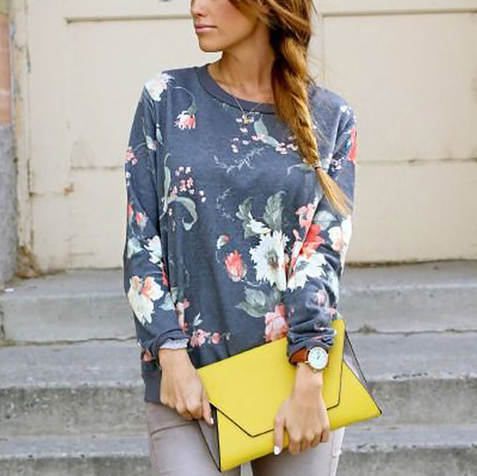 Fashion Casual Floral Print Loose Sweatshirts