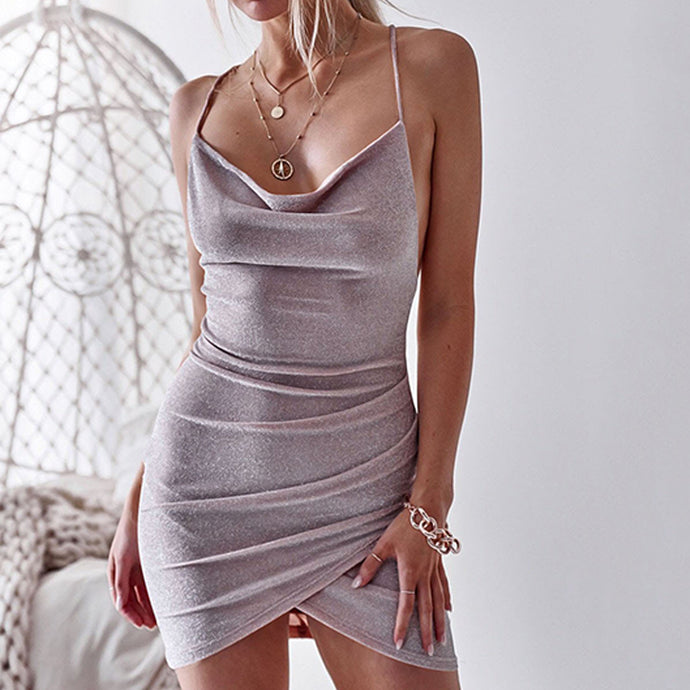 Sexy Spaghetti Strap Backless Bodycon Mini   Dress