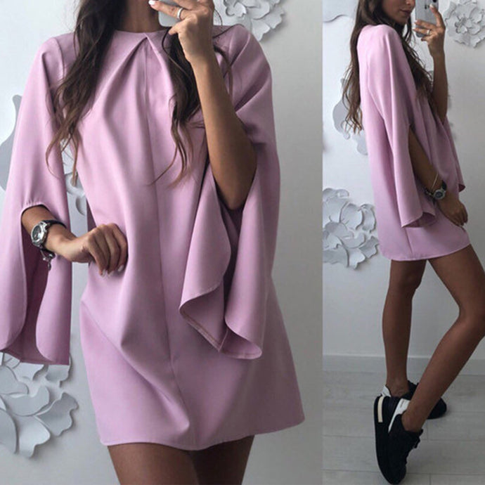 Split Sleeve Crew Neck Loose Mini Dress