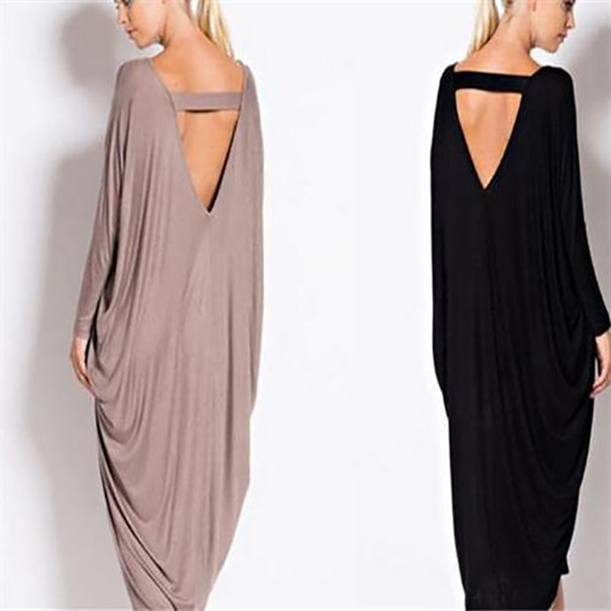 Casual Loose Plain Autumn Maxi Dress