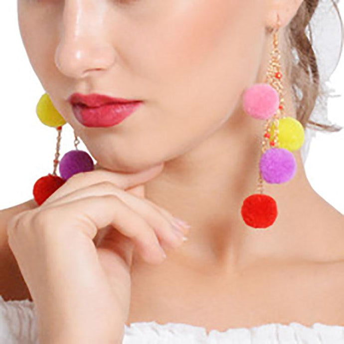 Colored Ball Pendant Tassel Earrings