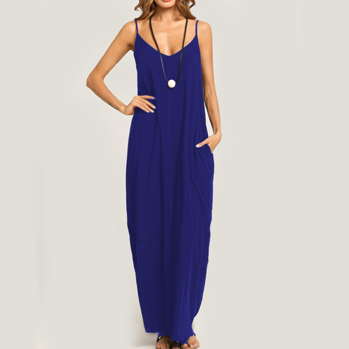 Summer Casual Spaghetti Strap Pocket Plain Vintage Maxi Dress