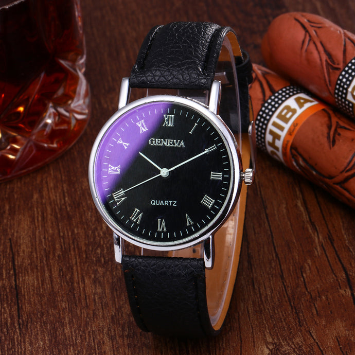 Fashion Casual Mens Blue Glass Quartz Watch