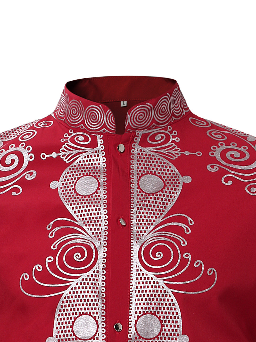 bbfc5facaeb171 ... Mens Hipster African Print Dashiki Dress Shirt 2018 Brand New Tribal  Ethnic Shirt Men Long Sleeve ...