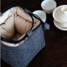 Load image into Gallery viewer, Tea Set Travel Bag Made by Handmade Vintage Fabric