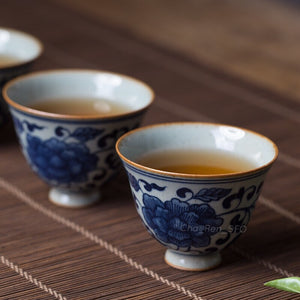 Delft Porcelain Cup Set (Qing Dynasty Inspired)