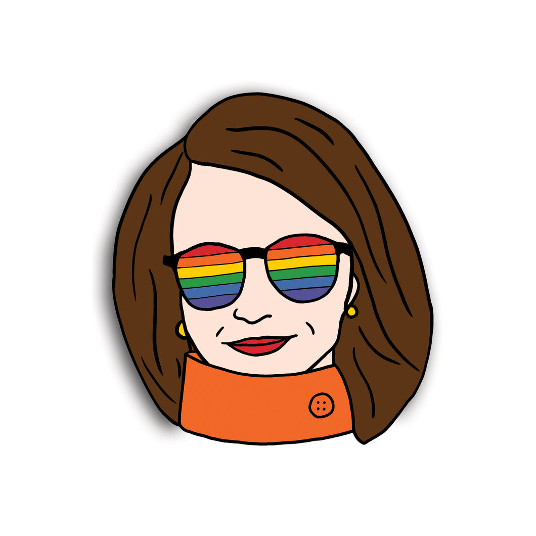 Nancy Pelosi Pride Sunnies Rainbow Pin