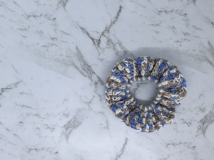 Blue and Grey Crochet Scrunchie