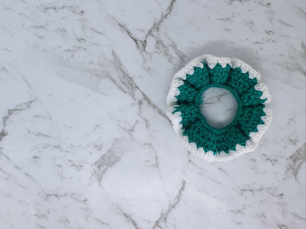 Teal and White Crochet Scrunchie