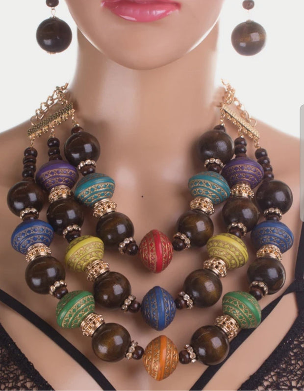 Multicolored Chunky Eood Necklace Set