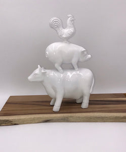 Farm Stack Cow, Pig, Rooster Statue pairs well with Rae Dunn