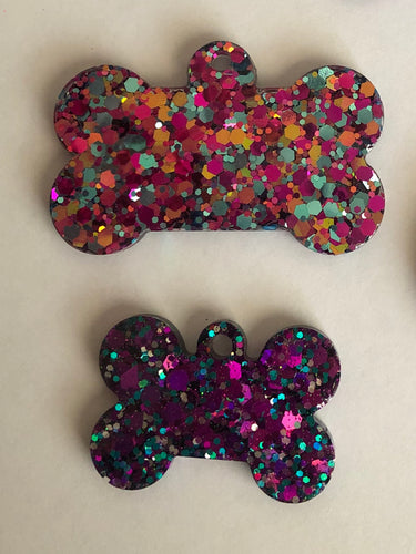 Large Glitter Dog Tag