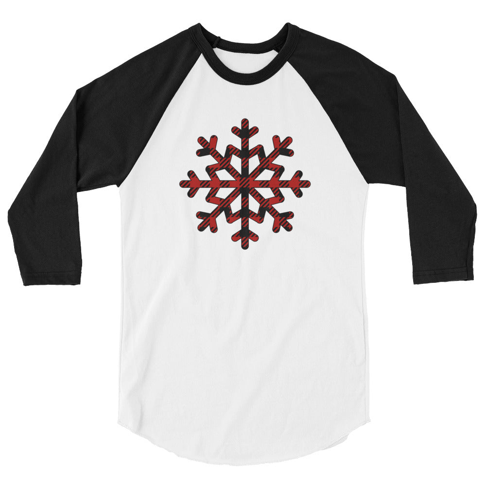 Buffalo Plaid Snowflake 3/4 sleeve raglan shirt
