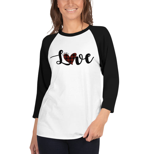 Red Plaid Love 3/4 sleeve raglan shirt
