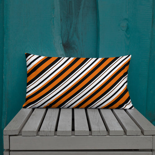 Orange and Black Striped Premium Pillow