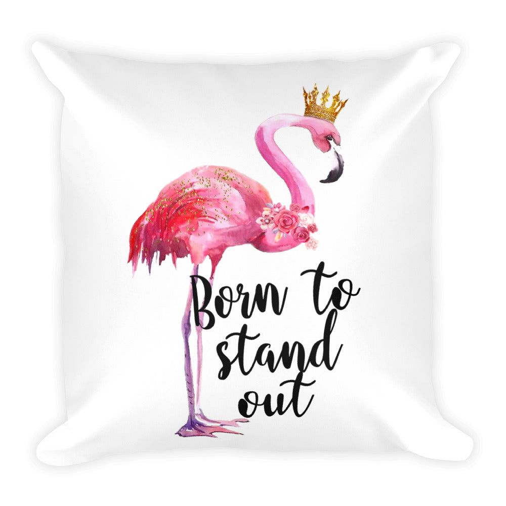 Stand Tall Flamingo Square Pillow