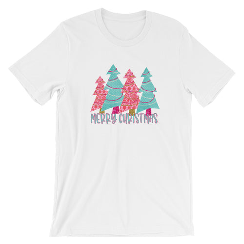 Pink and Turquoise Christmas Trees Short-Sleeve Women's T-Shirt