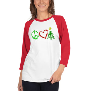 Peace, Love, and Christmas Women's 3/4 sleeve raglan shirt