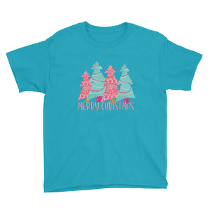 Pink and Turquoise Christmas Tree Kids Short Sleeve T-Shirt